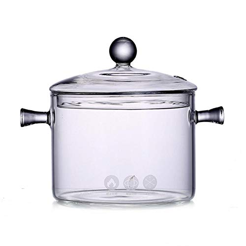 Pentola di vetro trasparente pentola di fuoco principale pentola di stufato pentola di porridge ad alta temperatura con coperchio ciotola di pasta istantanea di vetro 1350 ml design binaurale
