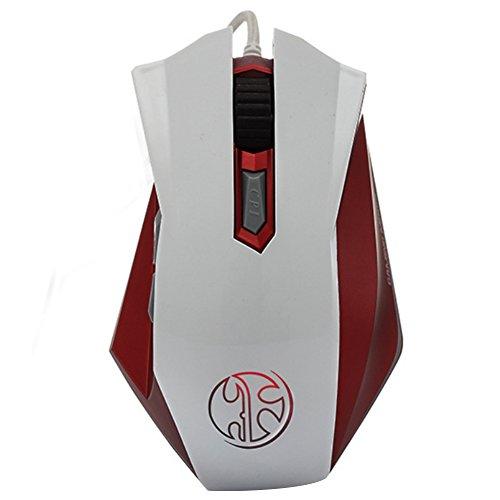 HighTech Gaming Maus Ergonomisch mit Faden, 6programmierbare Tasten, Licht LED, DPI 800/1600/2400/3200/4800Maus kabelgebunden Gaming Mouse Professionel für die Spieler Spiele Video PC weiß weiß taille_unique -