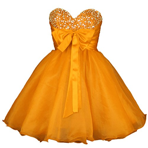 Vantexi Damen Liebsten Organza Kurz Cocktailkleid Partykleid Ballkleid Orange