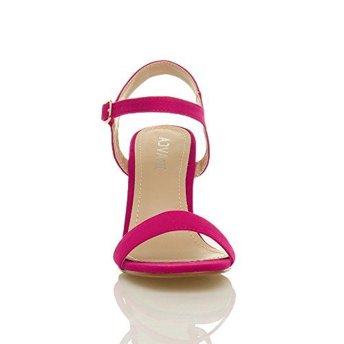 Ajvani Femmes Haute Talon Boucle Fête Élégant à Lanières Sandales Chaussures Pointure Fushia daim
