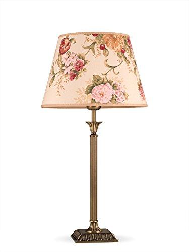 Helios Leuchten 403777/5 klassische Tischleuchte Tischlampe Kandelaber | Messing antik | Altmessing, Lampenschirm Stoff geblümt, für LED Lampen geeignet