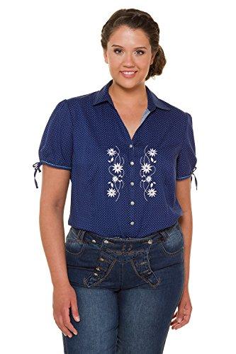 Ulla Popken Damen große Größen bis 64, Trachten-Bluse, Shirt mit Muster, Offener Hemdkragen, Knopfleiste & Blumen-Stickerei Marine-Pünktchen 54/56 717593 70-54+
