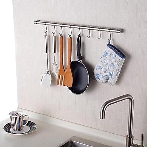 JSGN-Cucina in acciaio inossidabile 24Inch Hanging Rod con 8 ganci