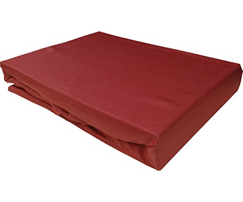Bettwaesche-mit-Stil Mako Satin Spannbettlaken Spannlaken Spannbetttuch (140 cm x 200 cm, Rot)