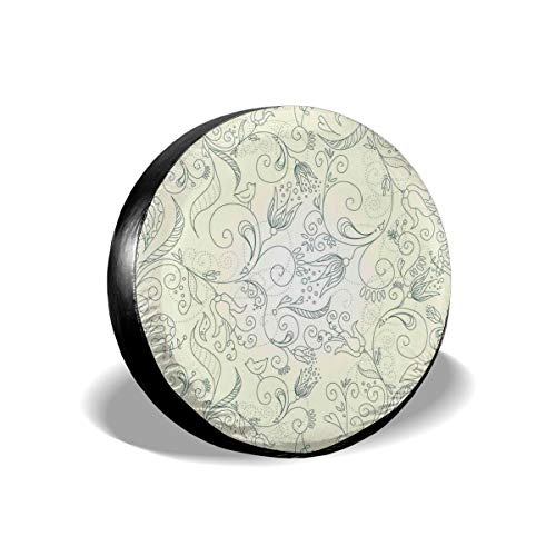 Tire Cover Tire Cover Wheel Covers,Delicate Blosssoms Of Spring In Doodle Art Style With Little Birds,for SUV Truck Camper Travel Trailer Accessories(14,15,16,17 Inch),Tire Cover size:15inches -