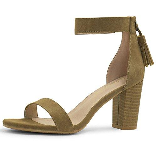 Allegra K Open femmes Gland Toe sandales bride talon empilé Kaki