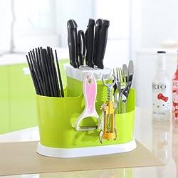 Generic The Large Capacity Kitchen Draining Tray Dish Drainer Drying Rack Colanders Basket Chopsticks Knife Sponge Fork Holder Dish Rack Green
