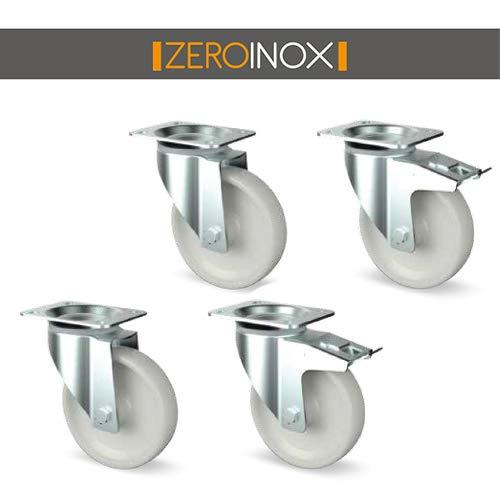 ZeroInox Set Stahlfelge \Poliamid O Zinco\Poliammide 2+2 mit Bremse - mit 4 Löchern für Einkaufswagen, Schränke, Tische