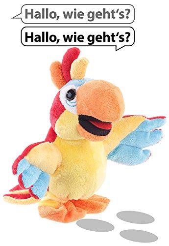Playtastic Sprechende Plüschtiere: Sprechender Plüsch-Papagei mit Mikrofon, spricht nach und läuft, 22 cm (Sprechender Papagei Spielzeug)