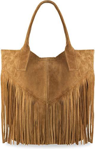 große Damentasche Wildleder Naturleder mit Fransen Boho-Style Beuteltasche viele Farben (Camel) -