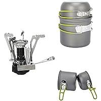 PULNDA 2PCS Utensilios Portátiles de Cocina de camping de aleación de aluminio Pot Pan cocina Set con Picnic estufa quemador para senderismo Camping Picnic senderismo mochila