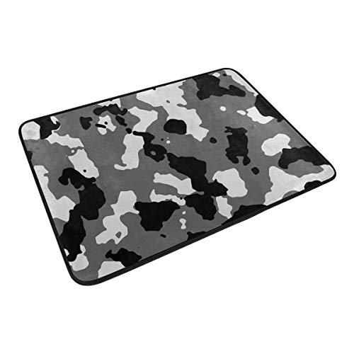 XiangHeFu Teppich, 59,9 x 39,9 cm, Grauer Camouflage-Muster, weicher Teppich, personalisierte Matte für Küche, Wohnzimmer, Esszimmer, Schlafzimmer, Dekoration - Grauer Elefant Dekorationen Baby