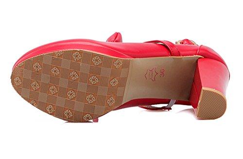 YE Damen Ankle Strap High Heels Plateau Pumps mit Schleife und Blockabsatz süß Schuhe Rot