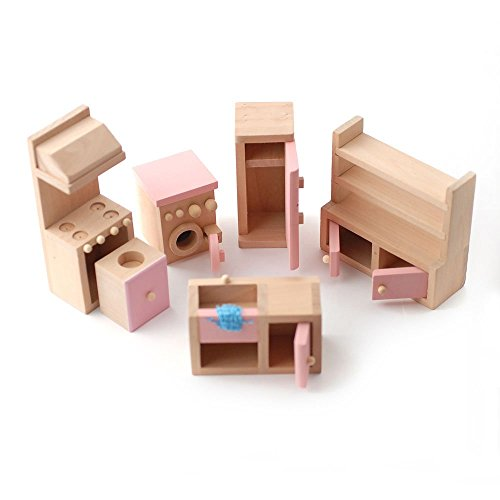 Wooden Dolls House Furniture Set - PINK Kitchen by STREETS AHEAD