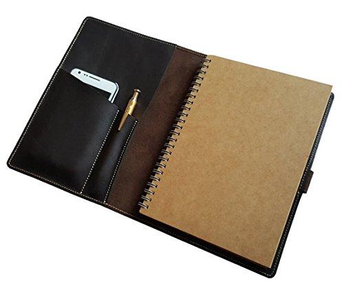 JoyToken Einband/Hülle für Notizbücher aus Moleskin, Leuchtturm, A5, Leder, 100% Handarbeit, mit Halterung für Stift und Handy, personalisierbar A5 Near Black (Fall Mit Planer)