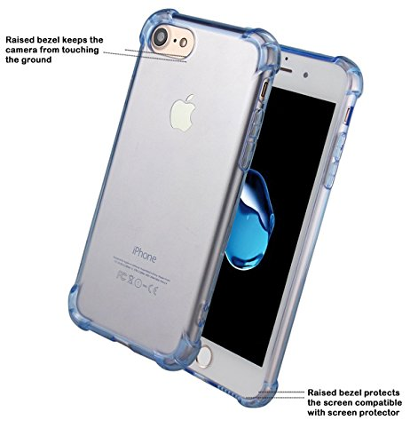 iPhone 5 Case, Walmark Shockproof Flexible TPU Bumper Anti-Scratch Rigid Back Cover Slim Protective Clear Case for Apple iPhone 5- Clear Grey Blue