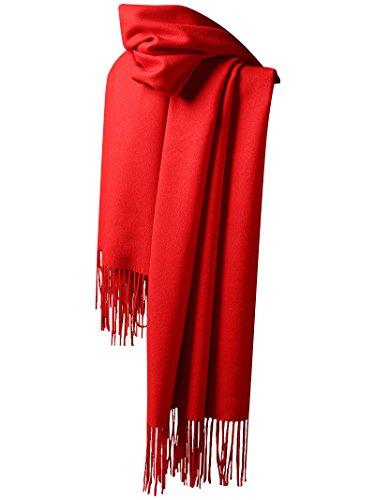 Handgefertigte Rote Tasche (Blasea Kaschmir Quasten Schals Schals Damen Herren 200 * 70 cm Rot)