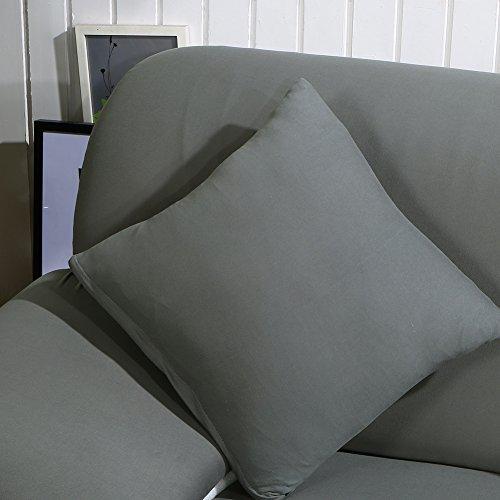 HTDirect Premium Quality Sofa Covers for a Forma di L, Pezzi in Tessuto Poliestere Elasticizzato Slipcovers + 2PCS Federa per Divano componibile Divano angolare Dark Grey