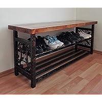 Vintage Shoe Rack Bench Organiser Handmade Hallway Furniture Shoe Storage Stand (Length 40-150 cm)