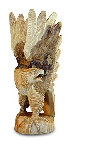 Kinaree 80cm Teak Adler Skulptur - Gartendeko Figur handgefertigt aus Massivholz - Handgefertigte Massivholz