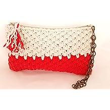 Bolso de mano BEIGE-ROJO. Tejido a mano. Crochet. Punto canasta.