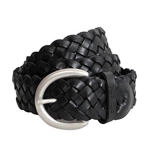 geflochten von Tom Tailor - Damenledergürtel aus echt Leder mit Metall Dornschließe (Schwarz 85cm) - präsentiert von ZMOKA® ()