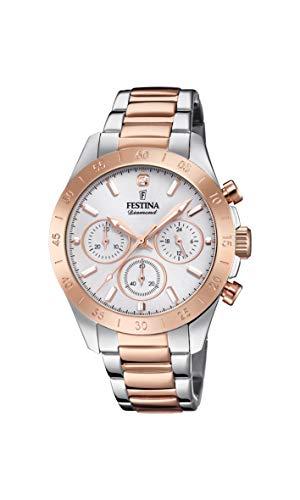 Festina Damen Chronograph Quarz Uhr mit Edelstahl Armband F20398/1