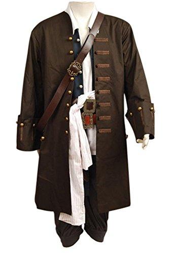 Pirates Of The Caribbean Jack Sparrow Cosplay Kostüm Jacke Weste Gurt Hemd Hose Set Herren M (Halloween-kostüm Jack Sparrow)