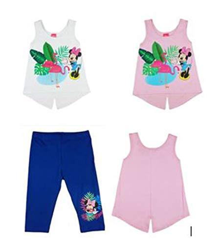 Disney Minnie Mouse Mädchen Sommer Set Outfit mit Leggings und 2 Stück Polo Top Shirts Tunika Oberteile, Geschenk in Größe 92 98 104 110 116 122 ärmellos Größe 116