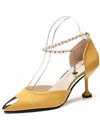 us8/eu39/uk6/cn39 LvYuan ggx Womens Heels Leatherette Spring Summer Fall Stiletto Heel Ruby Green Blushing Pink Burgundy Champagne 4in-4 3/4in champagne