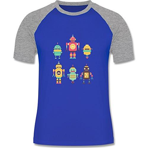 Nerds & Geeks - Bunte Roboter - zweifarbiges Baseballshirt für Männer Royalblau/Grau meliert