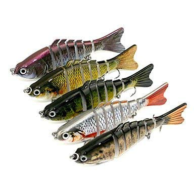 Ztmn 5 pezzi jerkbaits esca dura minnow colori assortiti g/oncia, 10cm mm pollici, plastica dura pesca a spinning pesca a traina e pesca a barca bass