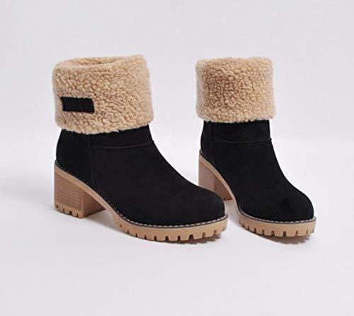 Botas Mujer Invierno Tacon Forrado Calentar Botas Altas Botines Moda Casual  Outdoor Zapatos de Nieve Snow Boots ... 4674cc6006f0
