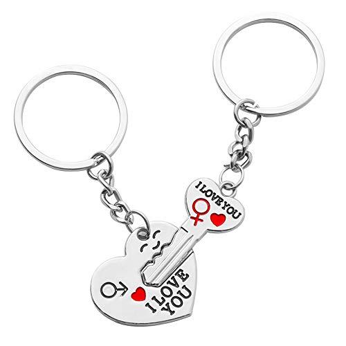 Qingjinsd Paar Liebhaber Anhänger Schlüsselbund Edelstahl Schlüssel Herz Puzzle Schlüsselbund Set Stück Passende Schlüsselbund Valentine Geschenk Paare 2 Teile/Satz für Outdoor Aktivitäten (Paar Outfits Valentine)