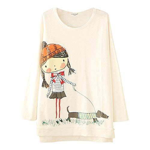 T-Shirt da Donna - Donna Casual a Maniche Lunghe Tee Donna Carino Cartone Animato Stampa Oversize Tops (Bianca,5XL)
