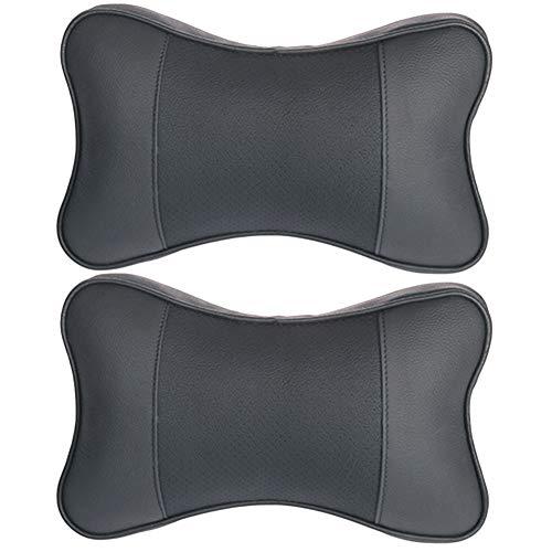 YUSHHO56T Kopfstützen Autositze, Zubehör, Kopfstütze, 2 Stück, universal, Kunstleder Autositz, 3D-Kopfstütze, Nackenkissen, Stützkissen - Schwarz Schwarz -