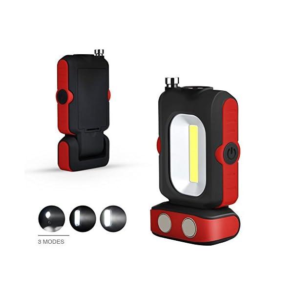 WOOPHEN Lampada da Lavoro a LED Portatile, Torcia Multiuso COB, Base Magnetica, a Batteria con Illuminazione da 5000K, per Riparazioni Auto, Campeggio, Blackout ed Emergenze 1 spesavip