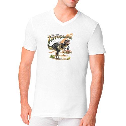 Fun Männer V-Neck Shirt - Urzeit: Tyrannosaurus Rex by Im-Shirt Weiß