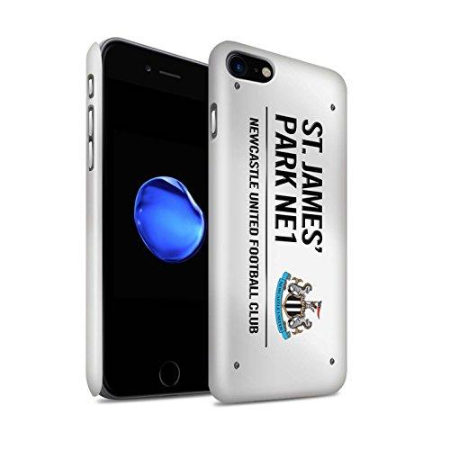 Officiel Newcastle United FC Coque / Clipser Brillant Etui pour Apple iPhone 7 / Noir/Or Design / St James Park Signe Collection Blanc/Noir