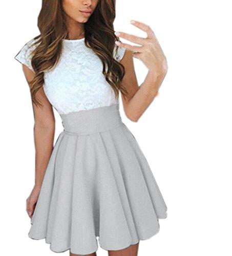 Jahre Plus Kleidung 80er Size (Frauen Reizvolle Minikleid Faltenkleid Einfarbig Spitze Spleißen Freizeitkleid Partykleid Ärmellos Slim Tunikakleid Sommerkleid (EU38,)