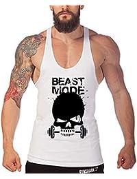 Befox Hombre Chaleco de impresión del cráneo Fitness Sport Chaleco Loose Transpirable Absorción del Sudor Camisetas