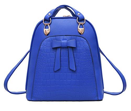 Keshi Neu Faschion Rucksäcke Damen Mädchen Schüler Lässige Canvas Rucksack Vintage Backpack Daypack Schulranzen Schulrucksack Wanderrucksack Schultasche Rucksack für Freizeit Outdoor Sport PU Blau