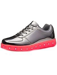 (Present:kleines Handtuch)Silber EU 37, Sportschuhe Lackleder Herren für 43 Turnschuhe LED Sneaker Leuchtend High Unisex-Erwachsene Schuhe 7 JUNGLEST® Farbe Damen Top USB