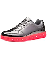 (Present:kleines Handtuch)Silber 41 EU JUNGLEST(TM) Turnschuhe Leuchtend JUNGLEST Herren USB 7 LED Sport Farbe Unisex-Erwachsene Aufladen Schuhe für
