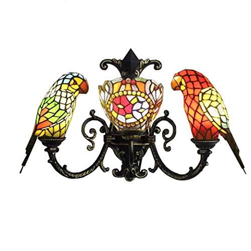Tiffany Style Applique Murale, Design Baroque Perroquet Décoration Murale En Verre, chambre Chevet Applique Murale Étude Salon Salle De Bains Miroir Lampes GJX (Conception : B)