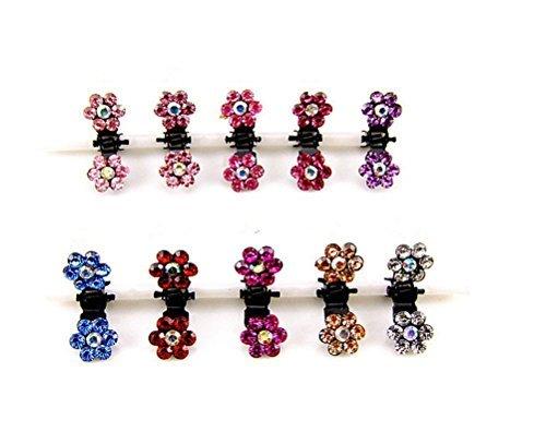 cuhair (TM) 10 couleurs assorties strass Frange Mini Pince à cheveux épingle à cheveux fleur accessoires pour femmes fille bébé couleur Mix
