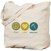 Cafepress–Peace Love Geology–Borsa di tela naturale, tessuto in iuta