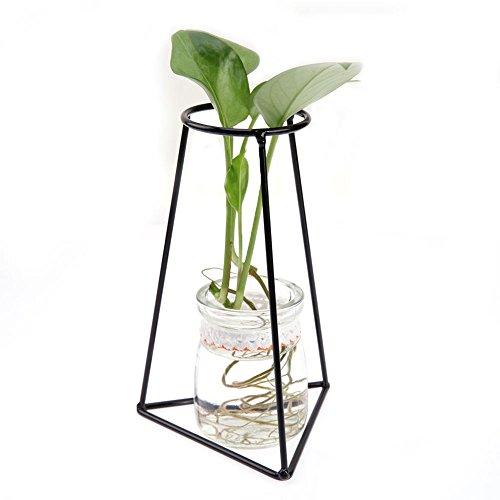 Demiawaking support en métal et en verre Pot de fleurs Pot de fleurs moderne pour plantes d'intérieur support Affichage de rack étagère Triangle