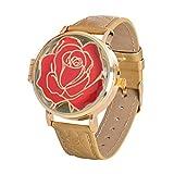 La Bella y la Bestia Disney Watch Enchanted Rose analógico con bisagras