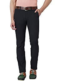 Peter England Mens Super Slim Fit 4 Pocket Solid Trousers